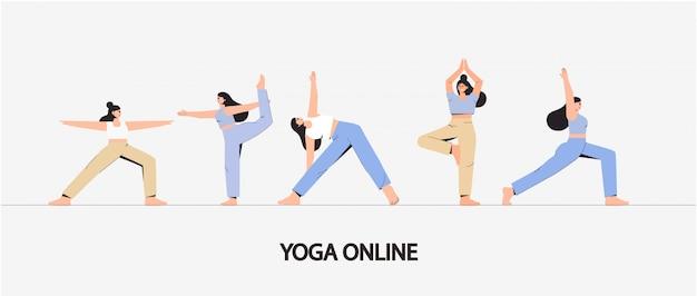 Молодая женщина в разных позах йоги. Premium векторы