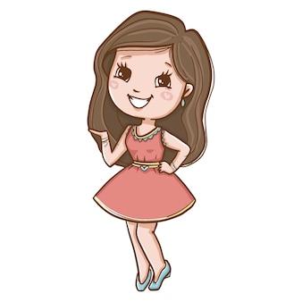 핑크 드레스 웃 고있는 젊은 여자