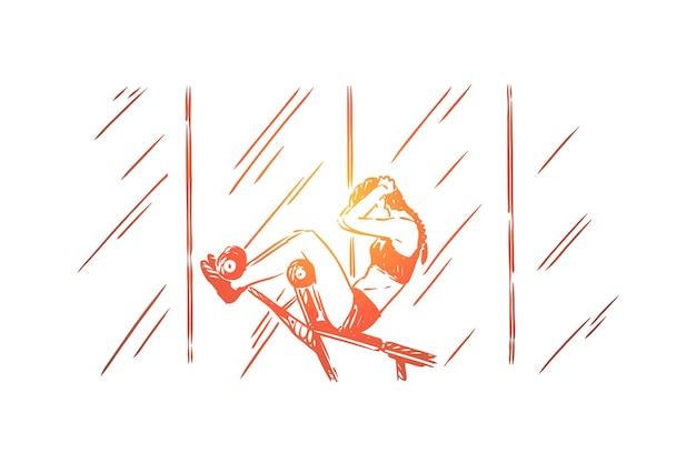 운동복에 젊은 여자가 앉아 업을하고, 훈련 복부 언론 그림