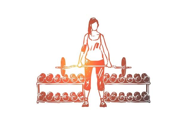 바벨 일러스트와 함께 운동하는 운동복에 젊은 여자