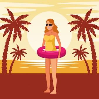 Молодая женщина в купальнике мультфильм
