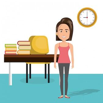 教室のキャラクターシーンの若い女性