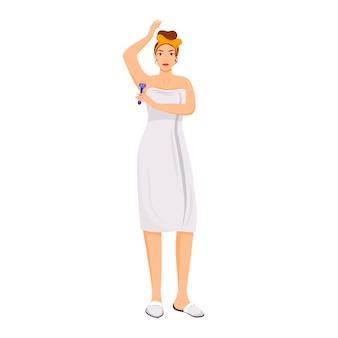 タオルシェービング脇の下の若い女性フラットカラー顔のないキャラクター。朝の衛生ルーチン、ウェブグラフィックデザインとアニメーションのための脱毛分離漫画イラスト。女の子は体毛を取り除く