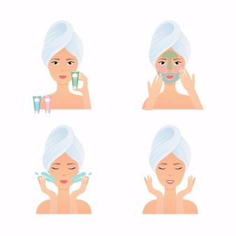 清潔で新鮮な肌のタオルで若い女性が自分の顔に触れます。