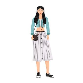 Молодая женщина в модном наряде плоский цвет безликий персонаж. девушка в стильной современной одежде изолировала иллюстрацию шаржа для веб-графического дизайна и анимации. женская фотомодель