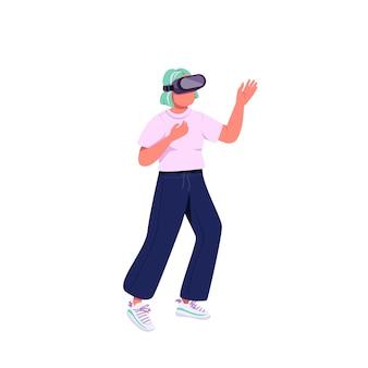 Молодая женщина в гарнитуре vr плоский цвет безликий персонаж. технология поколения z. кавказская девушка-подросток в виртуальной реальности изолировала иллюстрацию шаржа для веб-графического дизайна и анимации