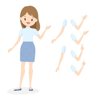 白いタートルネックと青い水玉スカートの若い女性。別の手と腕のポーズでフラットの漫画の女の子。
