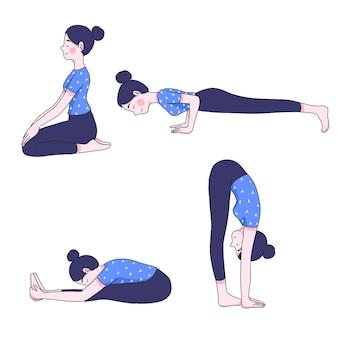 Молодая женщина в коллекции позиций йоги