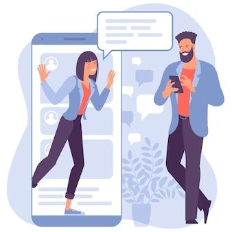 Молодая женщина разговаривает с молодым человеком с огромным телефоном и речевыми пузырями