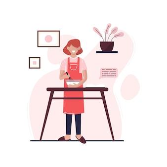 若い女性が台所で料理をしています。女性は家で食事を準備します。フラットベクトルイラスト。