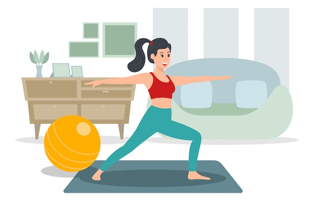 A young woman is exercising indoors, yoga illustration