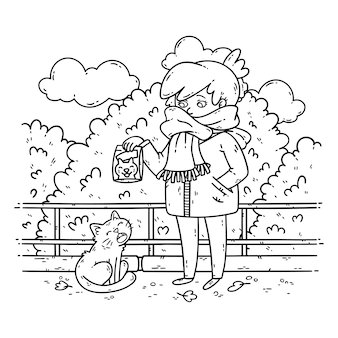 A young woman is planning to feed a stray cat.