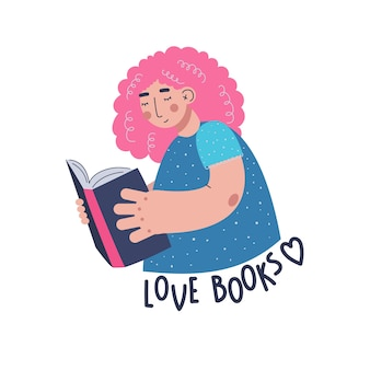 Young woman is reading a book. a woman has pink and curly  hair. cute illustration.