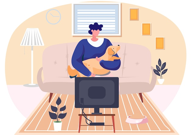 Young woman is sitting with her dog on the sofa in livingroom with tv cabinet at home. flat style illustration of a girl pet owner in the interior of the room hugging with a brown doggy