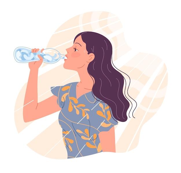 젊은 여자는 더위에 목이 마르고 물을 마신다.