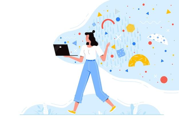 Молодая женщина идет с ноутбуком с летающими абстрактными формами.