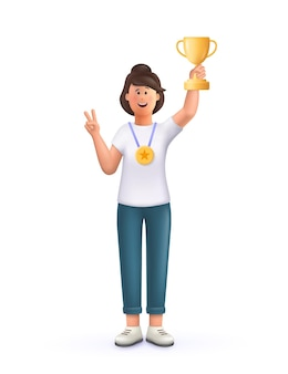 Young woman jane champion holds golden winner cup, awarded with prize, win award. concept of goal achievement celebration. 3d vector people character illustration.