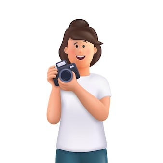 Young woman jane holding camera, taking photo and smiling. professional photographer, cameraman concept. 3d vector people character illustration.