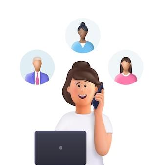 Young woman jane at a meeting assignment of tasks scram meeting job