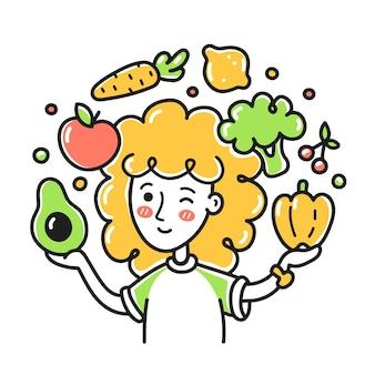 果物と野菜をジャグリングする若い女性