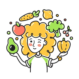 Young woman jugging fruits and vegetables