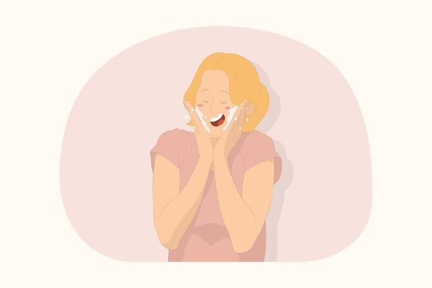 눈을 감고 있는 젊은 여성, 뺨에 손, 화장품, 미용 개념