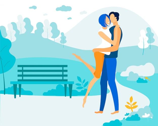 Молодая женщина целует мужчину в щеку в парке, пара