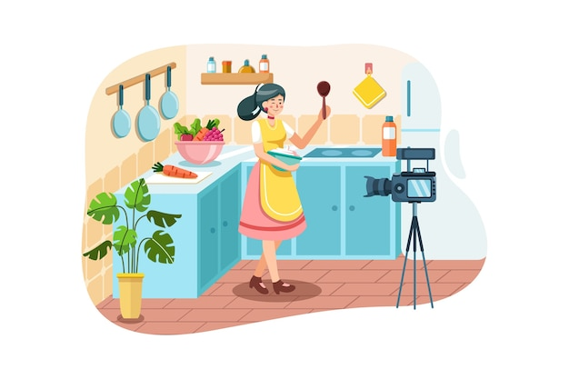 Young woman in kitchen recording video on camera.