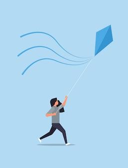 Young woman launching kite