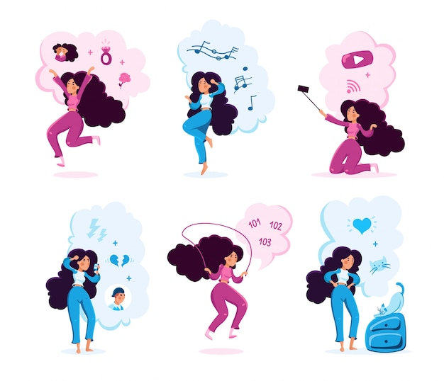 Young woman life scenes vector characters set