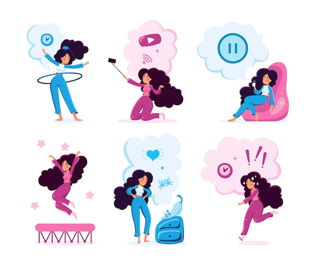 Young woman lifestyle routine character set
