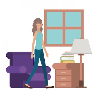 Young woman in the livingroom avatar character