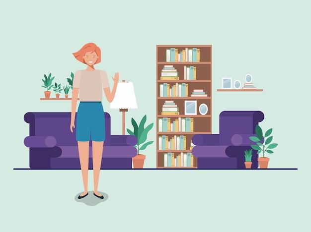 Young woman on the livingroom