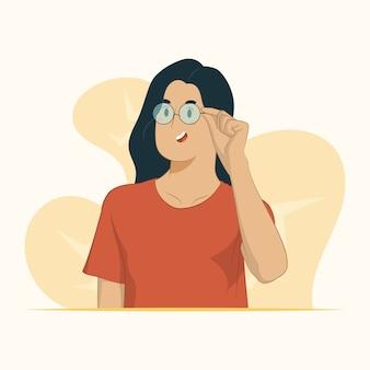 若い女性は空のスペースを見て眼鏡のコンセプトでよく見える
