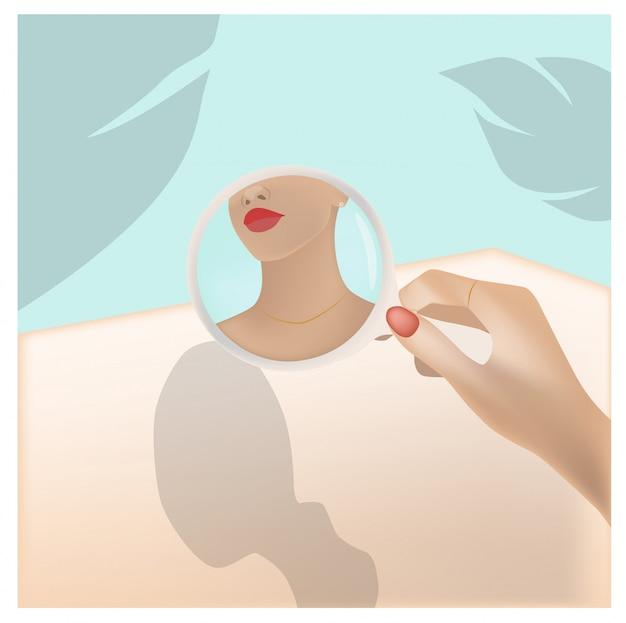 Молодая женщина, глядя на себя в круглое зеркало. пальмовый лист и бирюзовый цвет фона