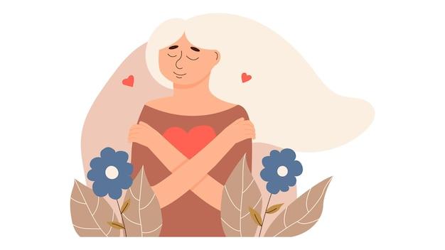 若い女性は愛情を込めて自分自身と彼女の体を抱きしめます。自分を愛し、個人的および心理的な問題を克服してください。自己愛と自信とケア。メンタルヘルス、自信。ベクトルイラスト。