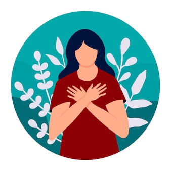 젊은 여성은 자신과 몸을 사랑스럽게 껴안습니다. 자신을 사랑하고 개인 및 심리적 문제를 극복하십시오. 자기 사랑과 자기 확신과 보살핌. 정신 건강, 자신감. 벡터 일러스트 레이 션.