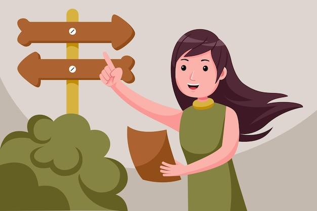 화살표와 함께 결정을하는 젊은 여자.