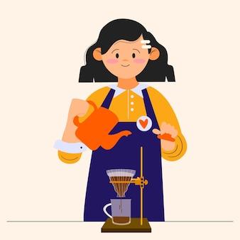 コーヒーを作る若い女性