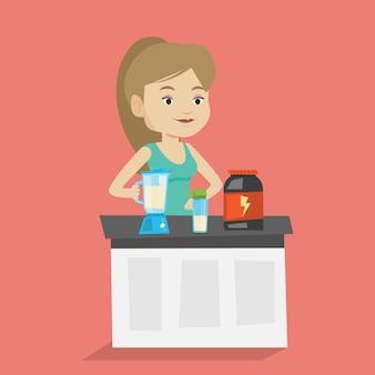プロテインカクテルを作る若い女性。