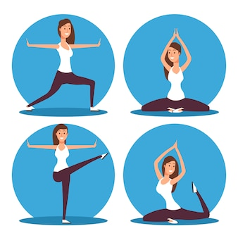 Young woman making yoga exercises and meditation vector illustration