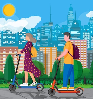Young woman and man on kick scooter. girl and guy with backpack rolling on electric scooter. hipster character uses modern urban transport. ecological city transportation. flat vector illustration