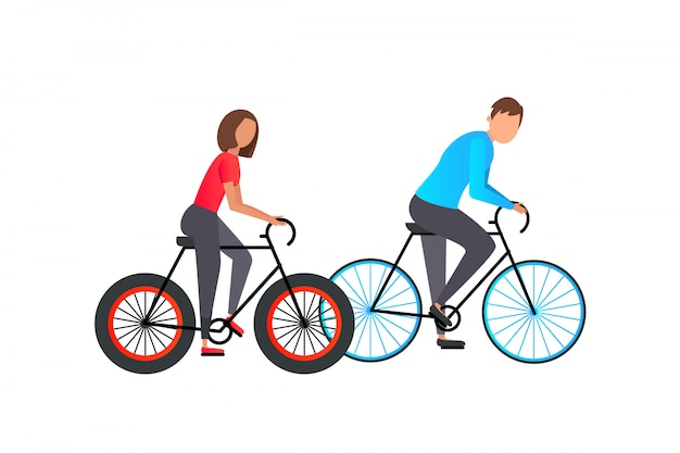 Young woman and man ride a bike isolated on white