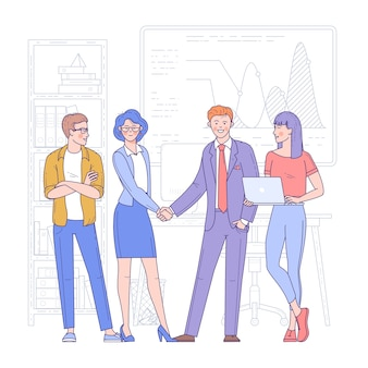 Young woman and man shaking hands in office. business meeting, deal or agreement, partnership or cooperation.