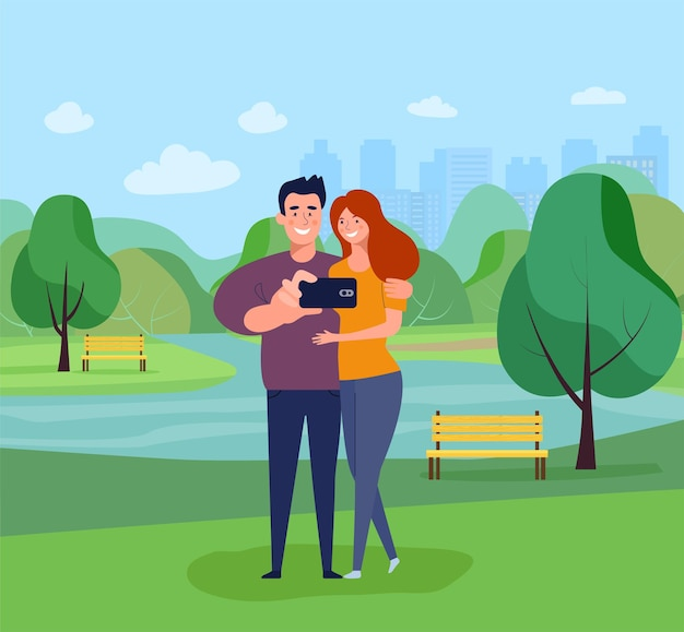 Young woman and man taking selfie in the park. vector illustration