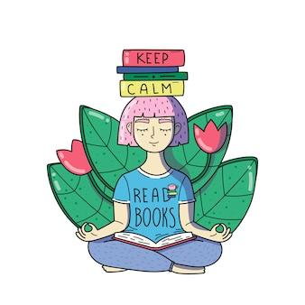 Молодая женщина медитирует с книгами на голове. держать спокойствие читайте книги. у девочки розовые волосы.