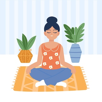 Young woman meditating illustrated