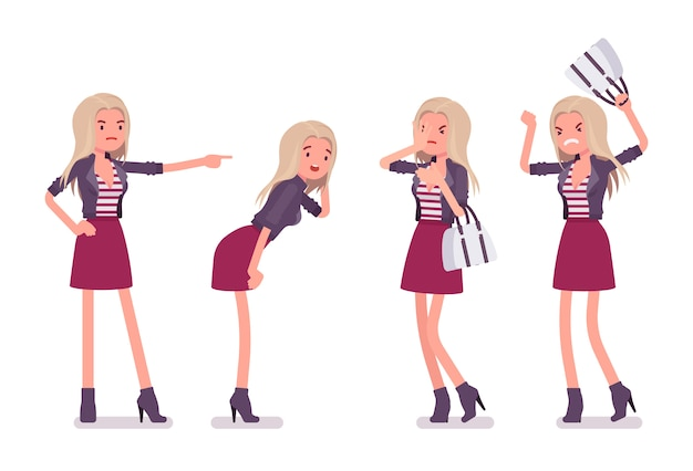 Young woman negative emotions. millennial girl, attractive blonde lady with bag wearing trendy jacket, above knee skirt, heeled ankle boots, youth urban fashion.   style cartoon illustration