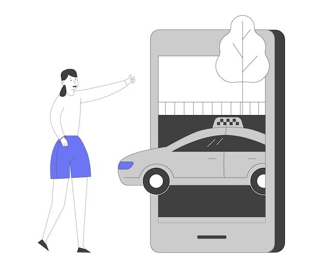 스마트 폰에서 모바일 애플리케이션을 사용하여 택시 운전사를 주문하는 젊은 여자