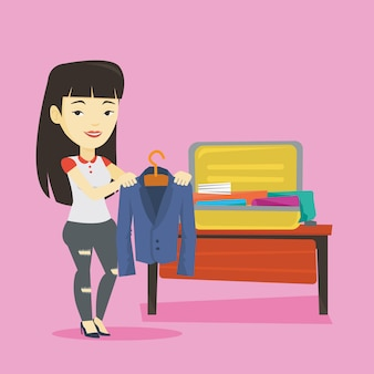 Young woman packing suitcase illustration